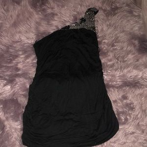 One Shoulder Beaded Mini Dress